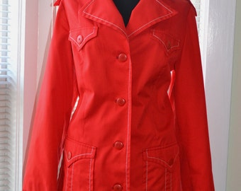 Vintage 70s Rain Jacket - Red with White Stitch - Trench Style - Made in Finland - 10/12