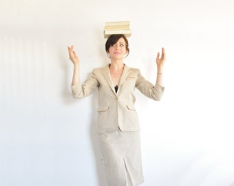 taupe wool tailored suit set . 3 pc matching blazer and pencil skirt .extra small.xs