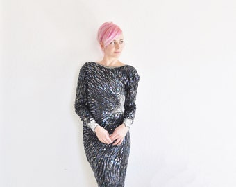 shooting star sequin dress . navy silver beaded bodycon .extra small.xs .sale