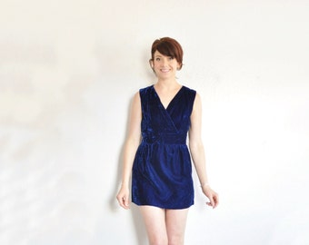 blue velvet micro mini dress . 1970 plush high class prostitute .extra small.xs .sale s a l e