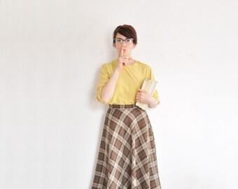 high waist brown plaid skirt . a line tartan print wool .small .sale s a l e