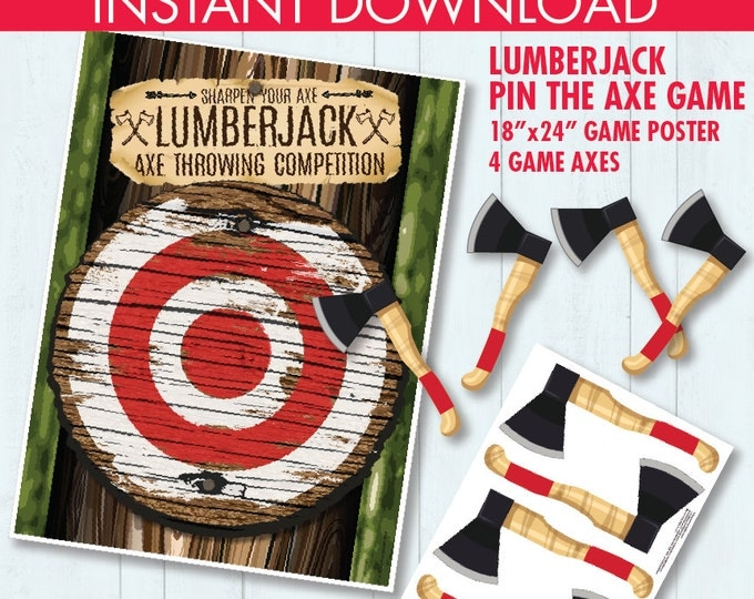 "Lumberjack Party - Pin the Axe Game - ""Axe Throwing Game"" - Lumberjack Party Game - INSTANT Download PDF - Printable Game"