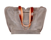 Gray leather tote, soft leather bag, women leather bag , leather handbag , leather shoulder bag , gifts for her