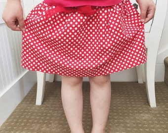 Red Polka Dot Layered Skirt for girls sizes 6 mos - 8 years