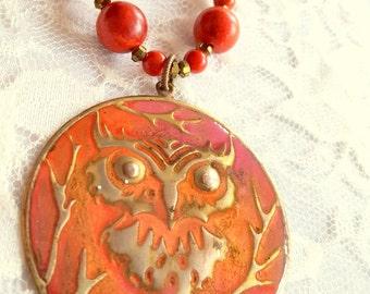 Rusty Orange Owl Necklace