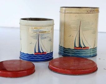 2 Sailboat Tin Containers Kitchen Coffee Nick Nack Cubby Artist Curiosity Gift Idea Office Garage Lithograph Red Lid Ocean Art Deco Regatta