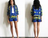 Lemon Shorts Suit / Matching Jacket and Shorts / Fruit Print Suit Sz S / M