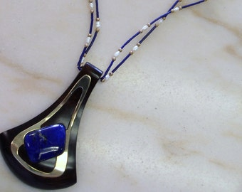 Vintage Handcrafted Large  Lapis Lazuli and Burl Wood Necklace