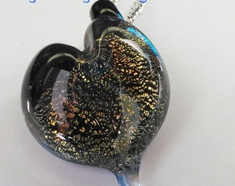 Sparkly Dichroic Borosilicate Glass Heart Pendant - Glass Heart Necklace - Anniversary Gifts - Handmade by FireGoddess Glass - Free Shipping
