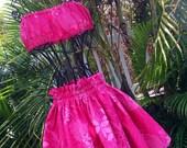 Girls Hawaiian Hula Pa'u Skirt Set Fuchsia Plumeria