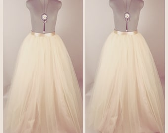Champagne Dreams Floor Length/Maxi Tulle Skirt with Satin Ribbon Sash