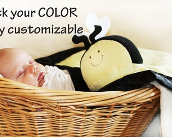 Bumble Bee Security Blanket baby blanket Lovey Blanket, Satin, Baby Blanket, Stuffed Animal, Baby Toy - Customize - Monogramming Available