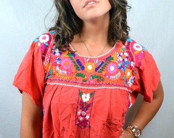 Embroidered 1980s 80s Red Rainbow Hippie Vintage Oaxaca Mexican Floral Tunic Red Dress