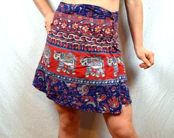 Cute 1970s Vintage Hippie Wrap Around Skirt