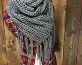 Crochet Extra Long Traditional Scarf with Fringe - ||MILE LONG|| - Granite