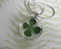Real 4 Leaf Clover Faceted Edge Jeweler's Crystal Glass Round Pendant-Gifts Under 30-Symbolizes Love, Luck,Hope, Faith-Nature's Wearable Art