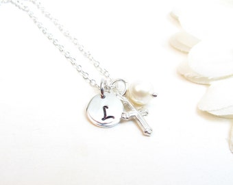 Sterling Silver Cross Necklace with Initial and Freshwater Pearls
