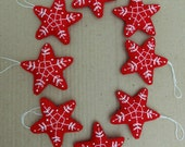 RESERVED - 8 faux felt stars in red with white embroduery