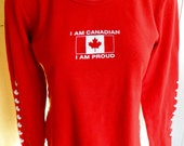 I Am Canadian and Proud 1990s vintage long sleeve t-shirt - red size large