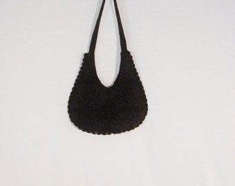 Bohemian Hippie Vintage Purse Shoulder Bag Frankie & Johnnie Crocket Patchwork Black Bag