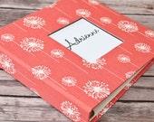 Baby Book, Baby Gift, Baby Album, Baby Memory Book, Baby Keepsake, Modern Baby Book, Coral Dandelion