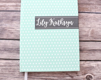 Lined Journal / Baby Journal / Pregnancy Journal / Baby Shower Gift / Guest Book / Personalized/ Polka Dots / Custom