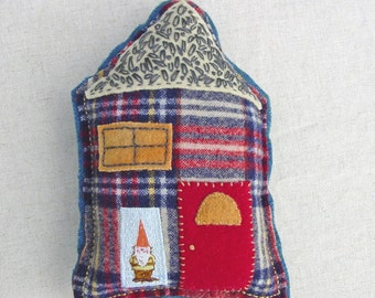 Pincushion - Little House - Hand Stitching and Embroidered - Gnome Home - Room Decor - Felt Art - Pincushion - by Toni