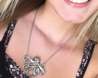 Octopus Necklace Silver Octopus Jewelry Nautical Necklace Tentacles Statement Necklace Unisex Necklace Octopus Pendant Antiqued Octopus Gift