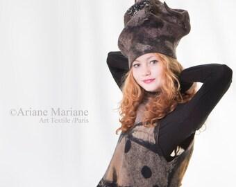 Extraordinary Felt Hat Sculptural Hat Designer Hat Paris Wool Art Hat Textile Art Handmade France