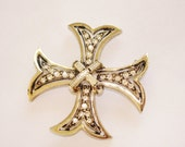 Pell Gold Tone Clear Rhinestone Maltese Cross Brooch Clip Earrings