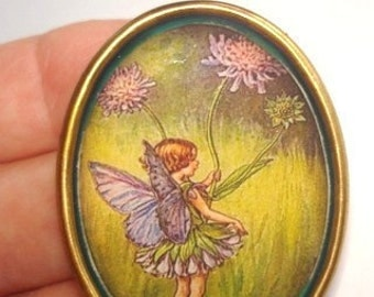 Fairy Child Clover Flower Brooch KL Design