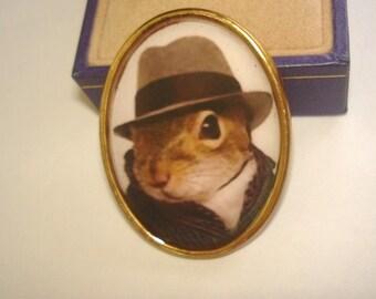 Racoon in Top Hat Animal  Brooch