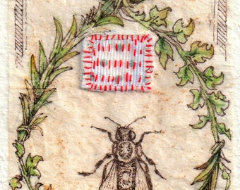 "Bee art, ink Drawing on teabag, ink drawing, Kabbalah, ""Tell the Bees,"" bee keeping charm, art, mixed media, embroidery"