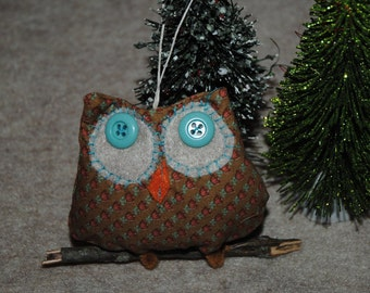 Rustic Primitive Owl on a Branch Christmas Tree Ornament for your Woodland Tree