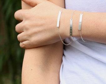 DOUBLE SIDED Hand Stamped Bracelet, Custom Hand Stamped Bracelet Jewelry, Two Sided Coordinate Bar Name Initial Bracelet