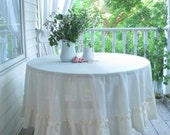 Round Tablecloth, Tablecloth, Frilled, French Country, Cream, Cottage Charm, Shabby French, Picnic Cloth, by mailordervintage on etsy