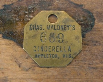RaRe Brass Primitive Rustic Shabby Numbered Tag Vintage Patina Char Finding Number No 669