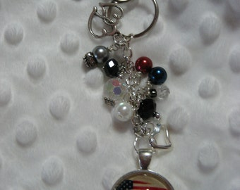 EOD SR badge with rustic flag background Beaded Dangle Key ring beaded keychain