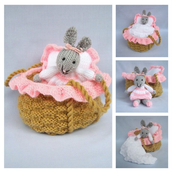 Baby Bunny in basket crib - knitting pattern - INSTANT DOWNLOAD rabbit doll toy