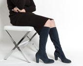 Vintage 70s Slate Blue Suede Knee High Heeled Boots | 8