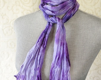 Silk Crinkle Scarf, Shibori Dyed in Violet Purple