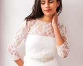 High neck lace shrug, long sleeve wedding top, wedding jacket, white wrap top, versatile lace top, open back ivory lace cover up, multiway