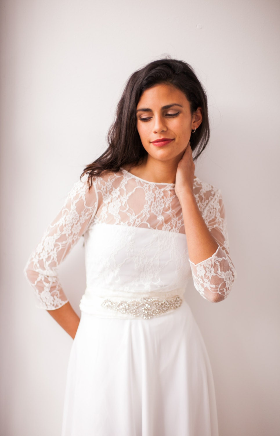 High neck lace shrug long sleeve wedding top wedding jacket for Wedding dress with shrug