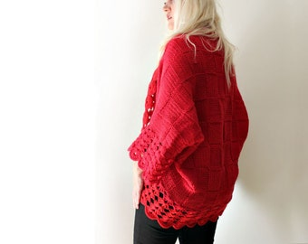 Oversized Cardigan / Red Cardigan / Blanket Cardigan / Hand Knit Cardigan / Wool Cardigan / Small Medium / Womens Gift / Girlfriend Gift