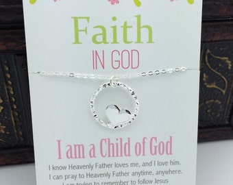 Faith in God for Girls Achievments - Infinity Circle with Heart Necklace silver heart necklace - Primary Necklace  Jewelry message with gift
