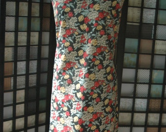 late 50's wiggle dress metal zipper larger size amazing print
