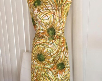 Vintage Mid Century Modernist Print Sheath Dress -- 60's -- Sunflowers -- Size L