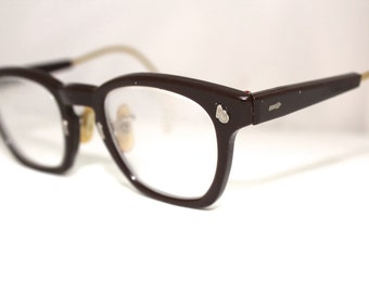 Rare Wine colored Clubmaster American Optical 1950s VINTAGE Eyeglass Frames/cable arms RH228