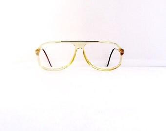 70s Citation Aviator Eyeglasses Frames Unisex Vintage 1970's Translucent Pale Yellow with Brown & Gold Detail Frames #M473