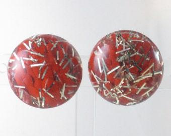 Vintage Red Lucite Confetti Clip Earrings (E-2-3)